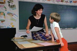 Substitute teacher speaking to student